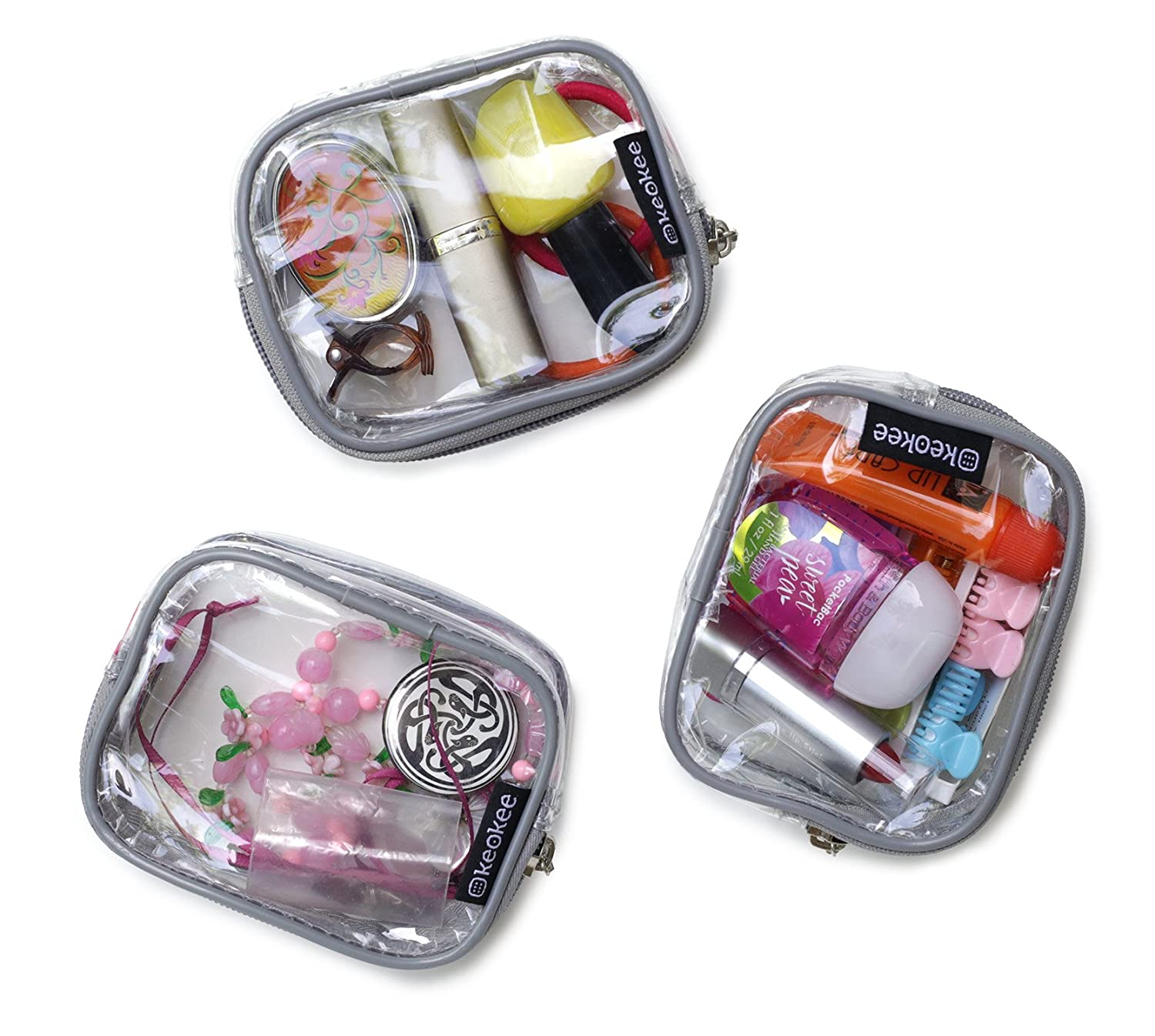Keokee Small Clear Cosmetic Cases or Multipurpose Bags   Organizer and Travel Packing Pouches   Set of 3