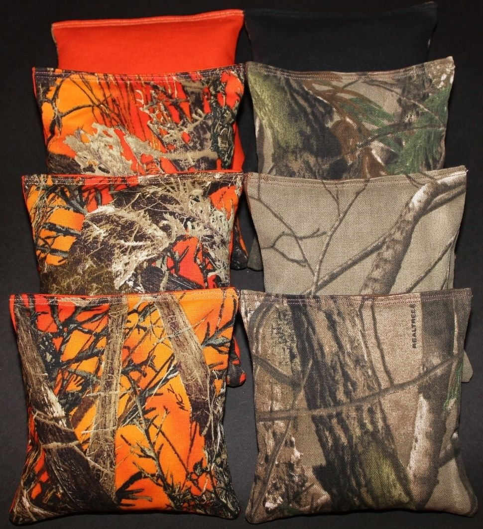 BackYardGamesUSA Cornhole Bean Bags Realtree Orange Camo Camouflage Real Tree Hunting Fishing