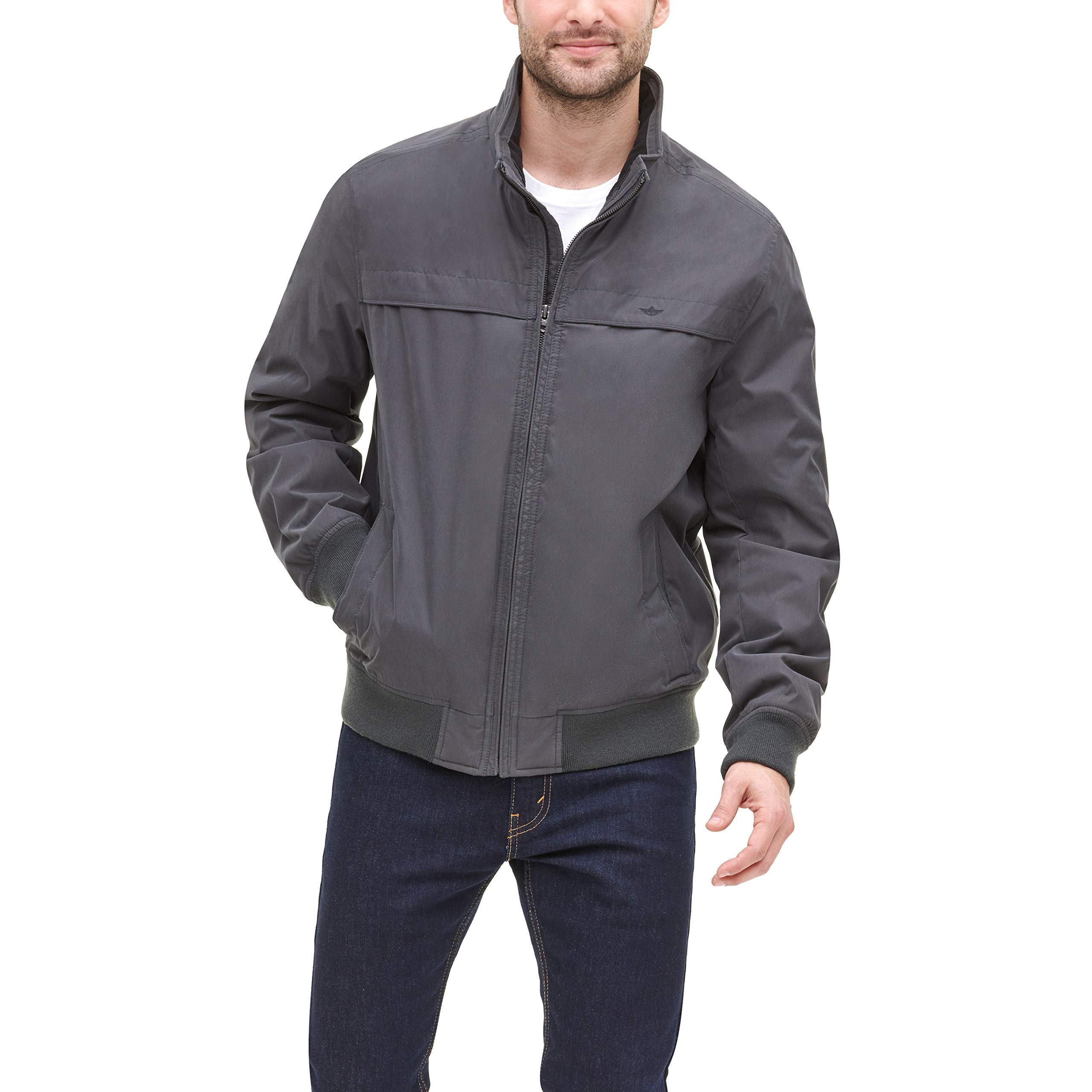 Dockers Men's Micro Twill Golf Bomber Jacket, Charcoal, Large by Dockers