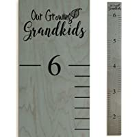 Wooden Ruler Growth Charts Ruler for Boys and Girls (Grandkids Gray)