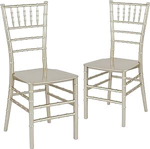 Lancaster Home 2 Pack Gold Resin Stacking Chiavari Chair - 15