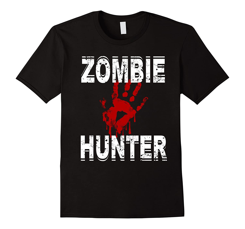 Zombie Hunter T Shirt Scary Halloween Costume-FL