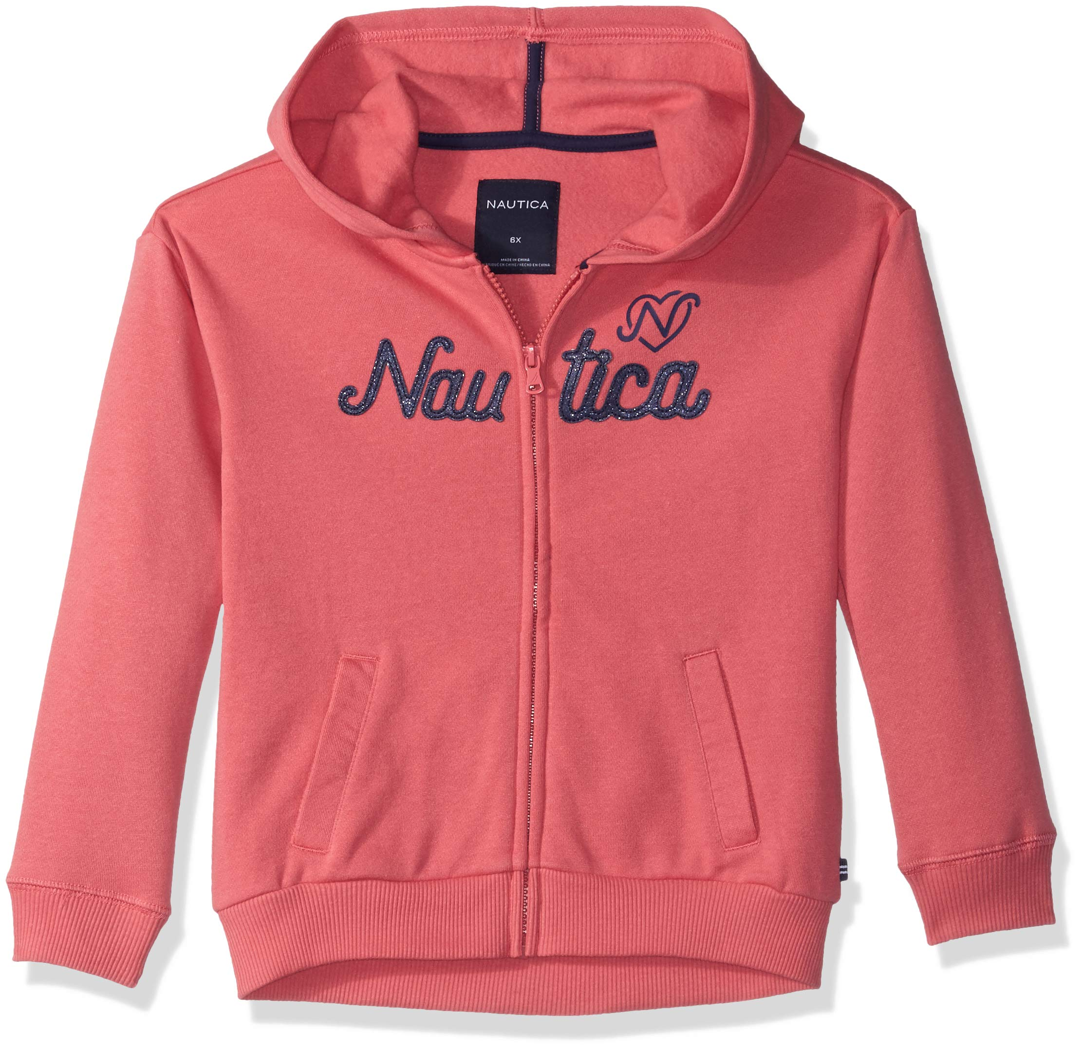 Nautica Girls' Little Long Sleeve Hoody, Rose Logos, 4