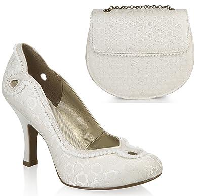 04c4754b459d8 Ruby Shoo Miley Brocade Court Shoe Pumps & Matching Miami Bag Cream ...