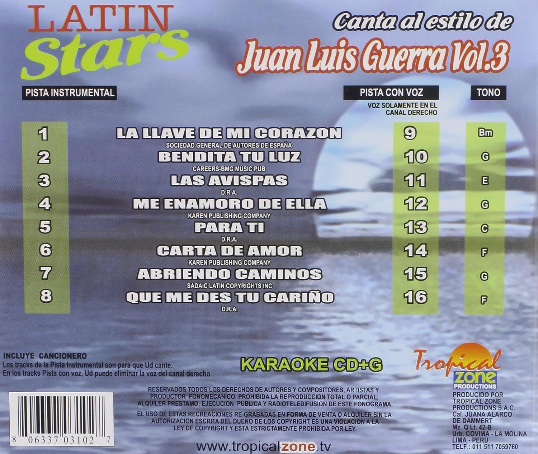 Juan Luis - Karaoke: Juan Luis Guerra, Vol. 3: Latin Stars Karaoke - Amazon.com Music