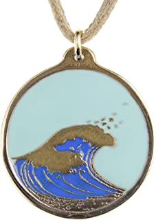 product image for From War to Peace Hokusai Wave Round Pendant Necklace with Light Blue Sky on Adjustable Natural Fiber Cord