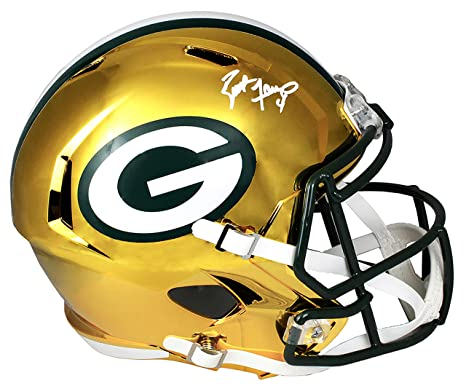 541a6111950 Image Unavailable. Image not available for. Color  Brett Favre Signed Green  Bay Packers Chrome Riddell Full Size Replica Speed Helmet