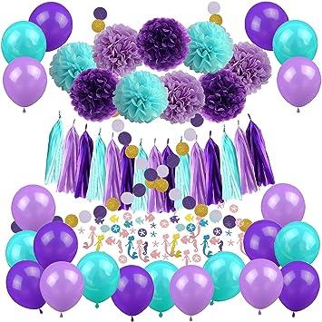 Zerodeko Decoraciones de Fiesta de Sirena, Feliz cumpleaños con Papel de Seda Pom Poms, Globos de látex, Confeti de Sirena, Sombreros de Fiesta de ...