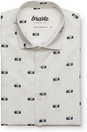 Brava Fabrics | Camisa Hombre Manga Larga Estampada | Camisa Blanca para Hombre | Camisa Casual Regular Fit | 100% Algodón | Modelo Capas Camera | Talla XL: Amazon.es: Ropa y accesorios