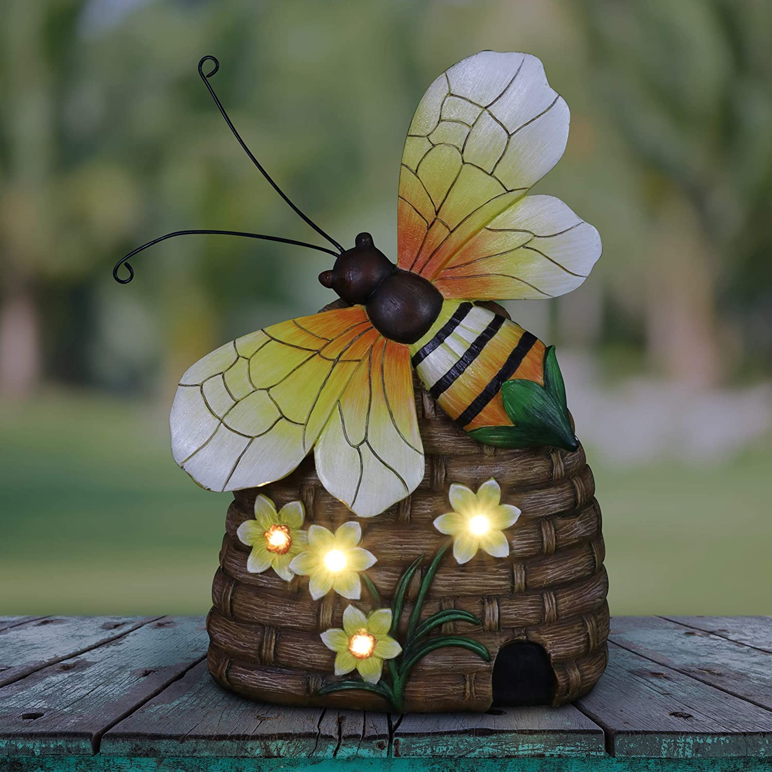 """Exhart Light-Up Bee Hive Statuary - Beehive Garden Statue w/Butterfly & Solar Powered Flowers – Durable & UV-Treated Bee Hive Outdoor Statue for Garden, Patio & Walkway – 9.0"""" L x 4.5"""" W x 12.5"""" H"""