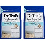 Dr Teal's Epsom Salt Bath Soaking Solution with Ginger and Clay - Detoxify and Energize - Pack of 2, 3 lb Resealable…
