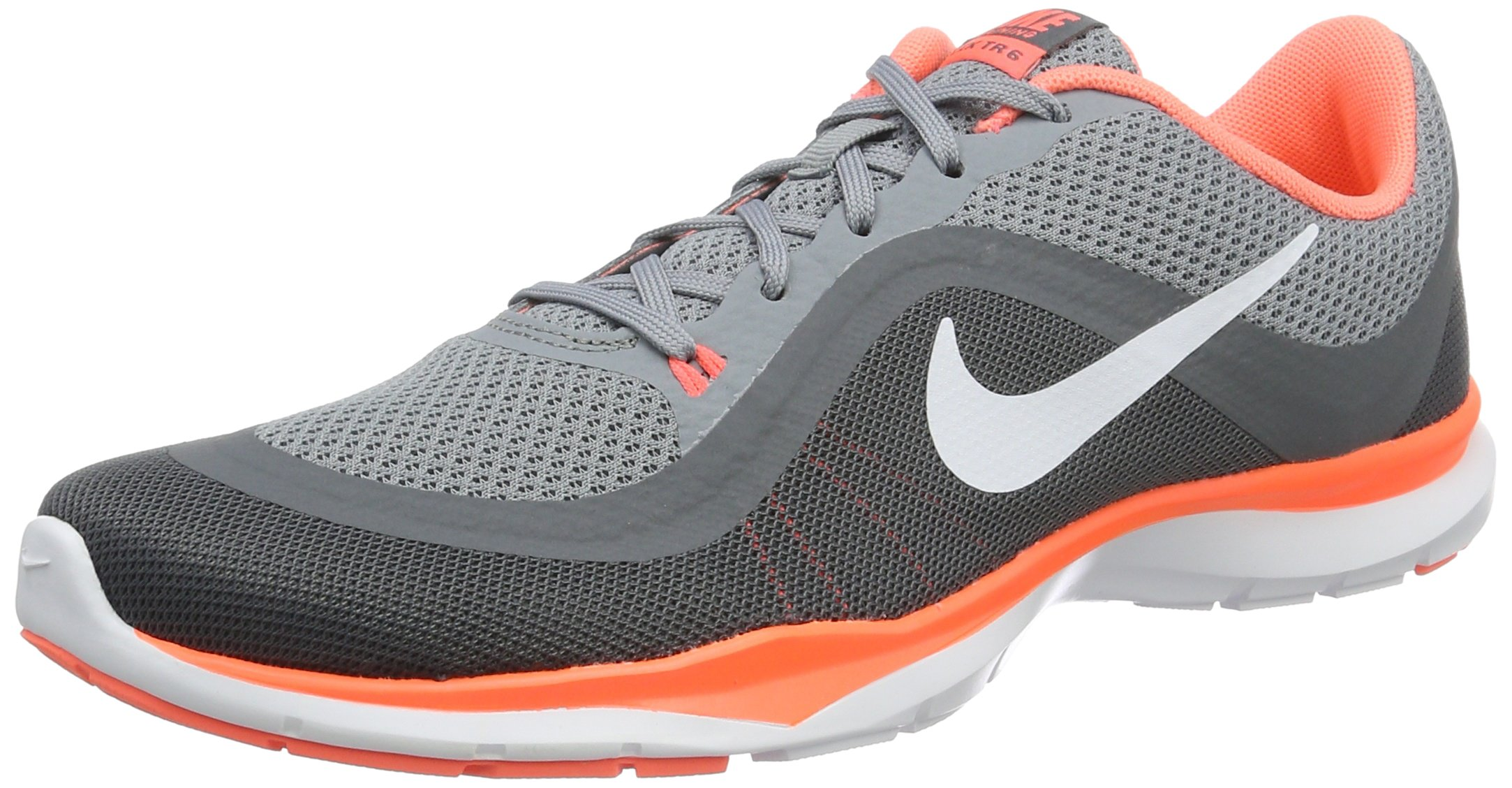 Nike Women's Flex Trainer 6 Training Shoe Stealth/White/Bright Mango/Cool Grey Size 9 M US