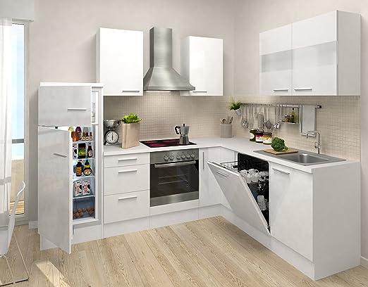 respekta Premium L ángulo de Forma de Cocina Blanco Blanco ...