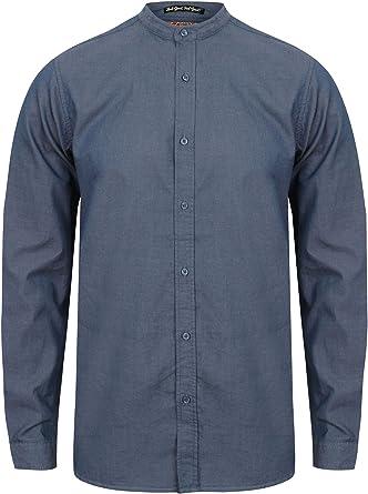 Tokyo Laundry Kampala - Camisa de popelina elástica para hombre, manga larga, cuello abuelo