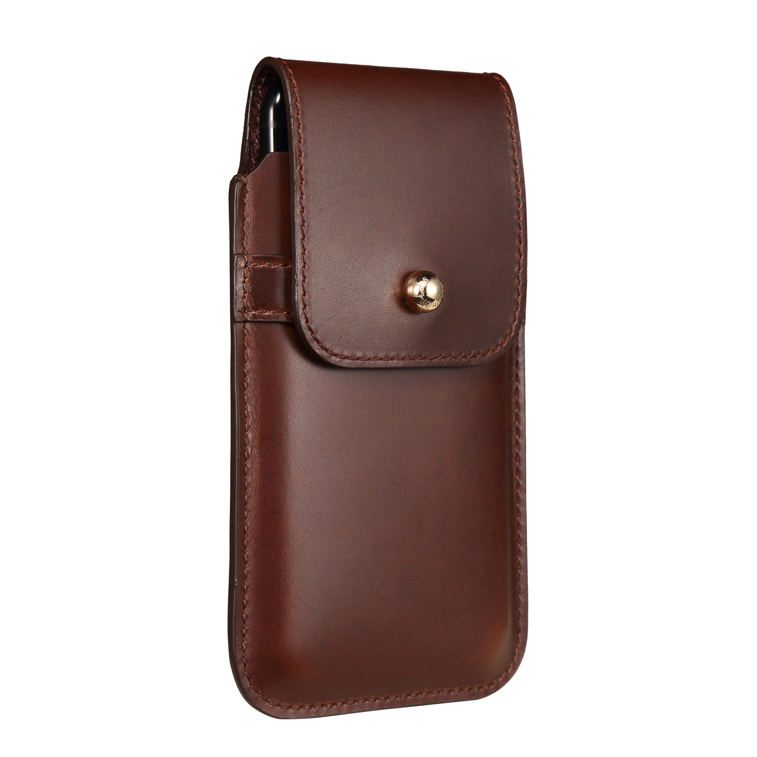Blacksmith-Labs Barrett 2017 Premium Genuine Leather Swivel Belt Clip Holster for Apple iPhone 6/6s/7 (4.7 inch screen) for use with no cases or covers - Brown Cowhide/Gold Belt Clip