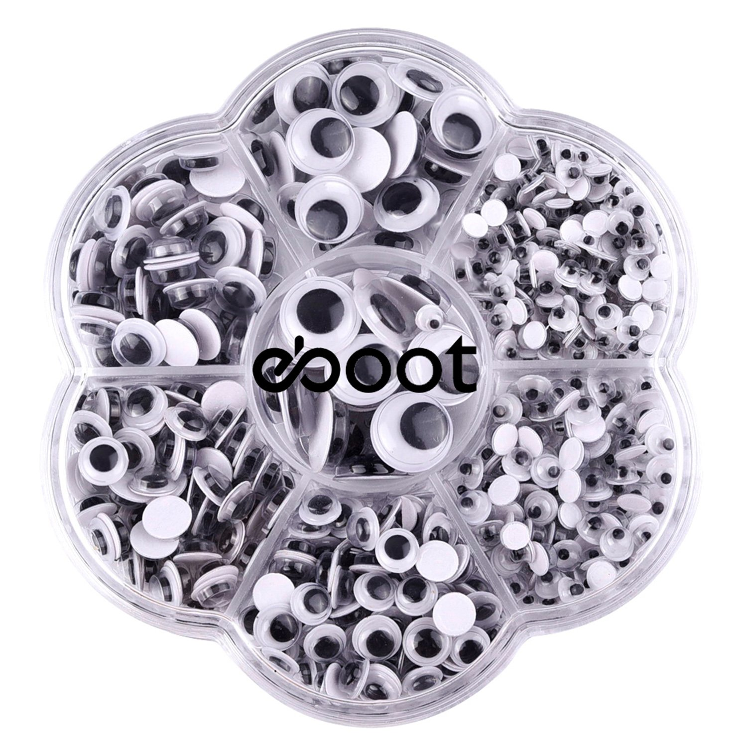 eBoot 700 Pieces Round Wiggle Googly Eyes with Self-adhesive DIY Scrapbooking Crafts Toy Accessories, Assorted Sizes 4336856363
