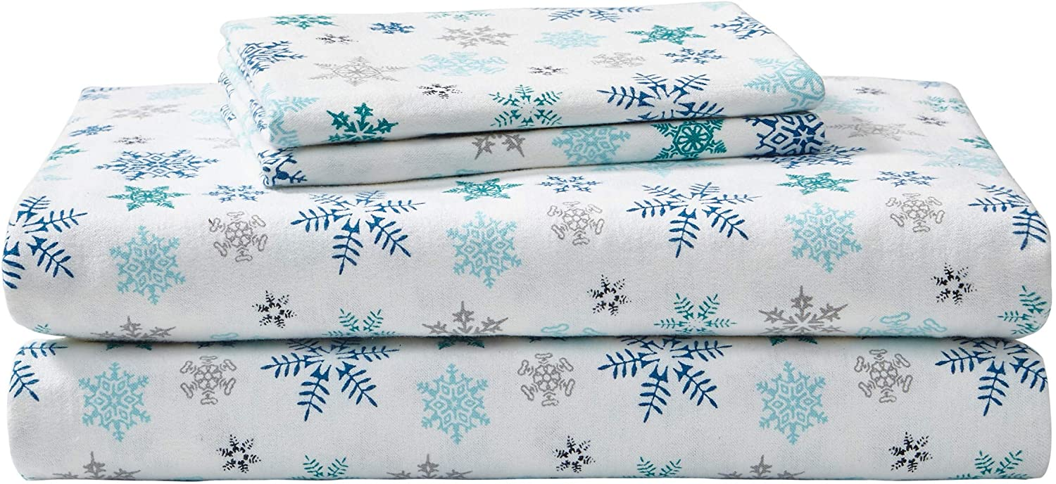 Amazon Com Eddie Bauer Flannel Collection 100 Premium Cotton Bedding Sheet Set Pre Shrunk Brushed For Extra Softness Comfort And Cozy Feel Queen Tossed Snowflake Home Kitchen