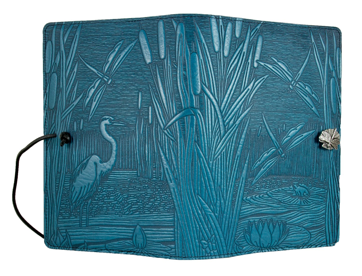 Genuine Leather Refillable Journal Cover + Hardbound Blank Insert - 6x9 Inches - Dragonfly Pond, Sky Blue With Pewter Button - Made in the USA by Oberon Design by Oberon Design (Image #3)