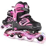 Lamberia Adjustable Inline Skates for Adult Women and Men, Outdoor & Indoor Roller Skates with Light Up Wheels for Beginner K