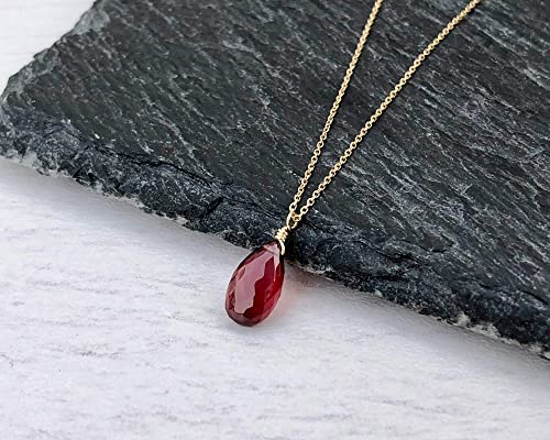 Small Garnet Necklace Garnet Wire Wrapped Pendant Dainty January Birthstone Gift Sterling Silver or Gold Red Gemstone Pendant