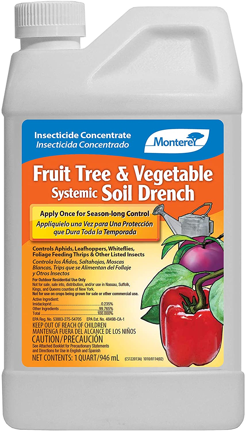 Monterey LG 6274 Fruit Tree & Vegetable Systemic Soil Drench Treatment Insecticide/Pesticide Concentrate for Control of Insects, 32 oz