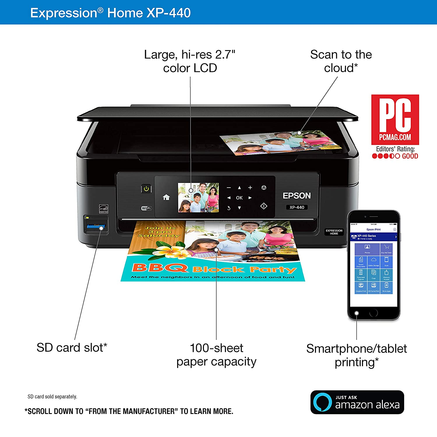 Epson Expression Home XP-440 Wireless Color Photo Printer with Scanner and Copier with Ultra Black Cartridge Ink and Ultra Color Combo Pack Cartridge ...