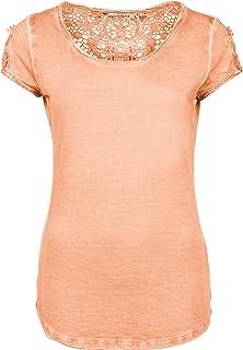 a949e9d96749 Urban Surface Damen Shirt mit Spitzenrücken   Elegantes T-Shirt im Vintage  Look aus leichtem