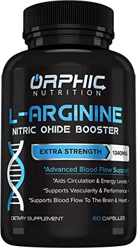 Extra Strength L Arginine – Nitric Oxide Supplement for Muscle Growth, Exercise Performance and Endurance, Vascularity, Heart Health, Increased Energy, Blood Flow Enhancer – 60 Caps, L-Arginine