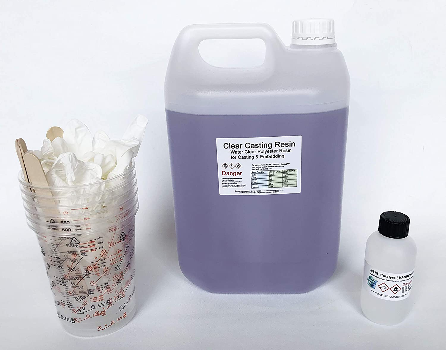 Water Clear Casting Cast Resin 5kg (Polyester) - Supplied with Hardener,  Gloves, Mixing pots and Stirrers