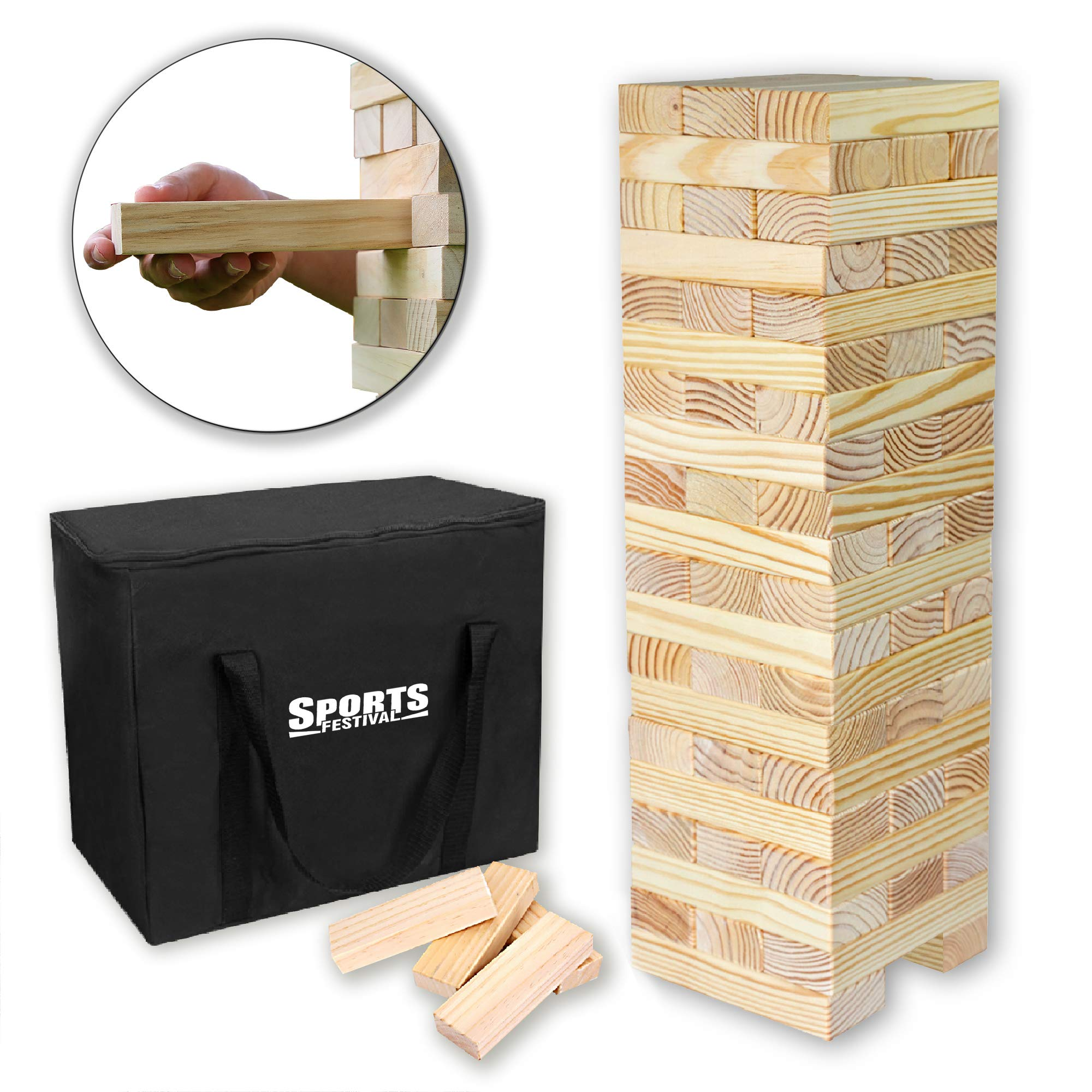 Sports Festival Giant Wooden Tumbling Timbers with Storage Bag, Hardwood Block Stacking Game for Yard Games by Sports Festival