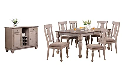 Kings Brand Almon 2 Tone Brown Wood 8 Piece Rectangle Dining Room Set,