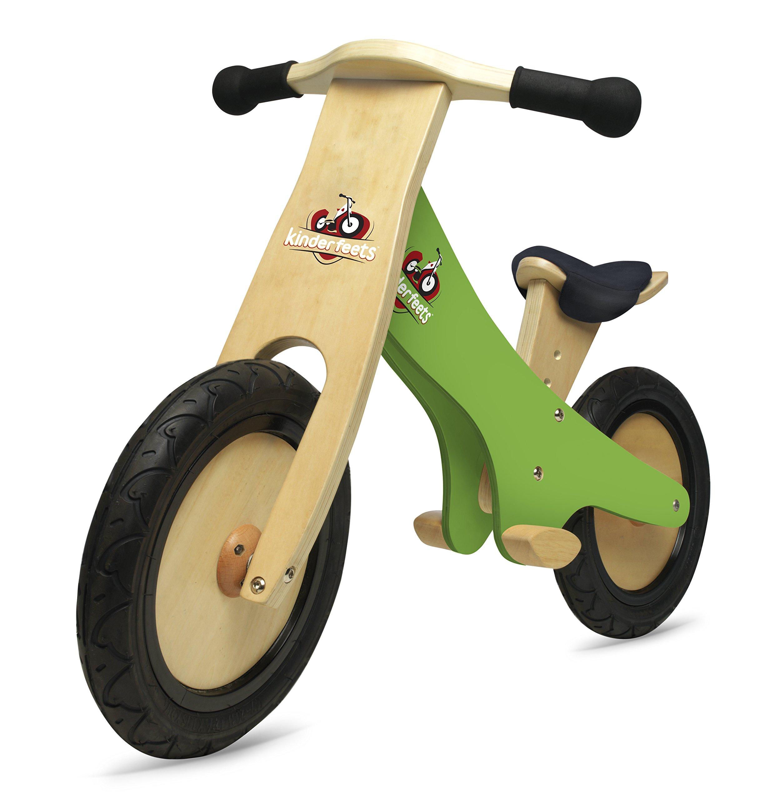 Kinderfeets Classic Chalkboard Wooden Balance Bike, Kids Training No Pedal Balance Bike, Green