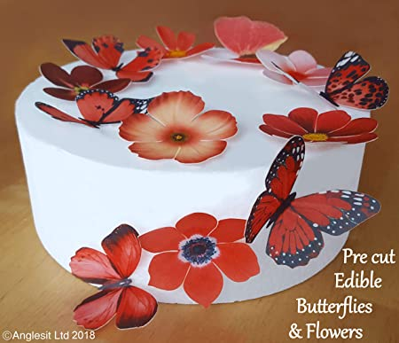 babd1736cb PRE-CUT BEAUTIFUL RED LARGE BUTTERFLIES & FLOWERS EDIBLE RICE/WAFER ...