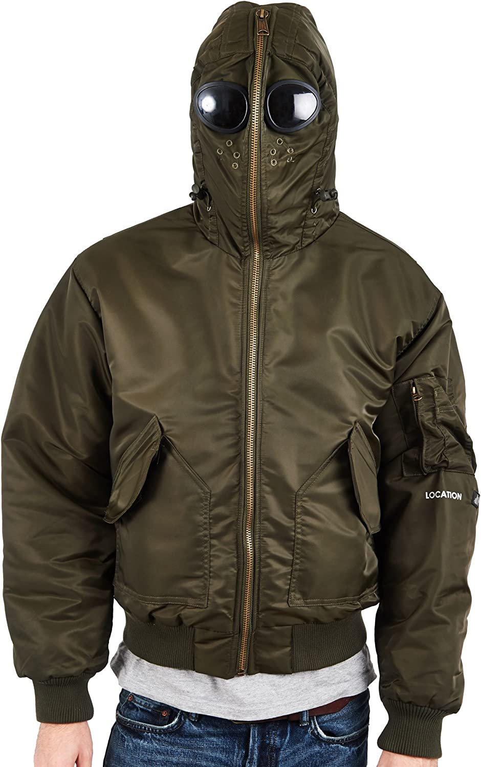 Details about Mens Location Galactic Airmans Waterproof Goggle Jacket Military Hooded Coat