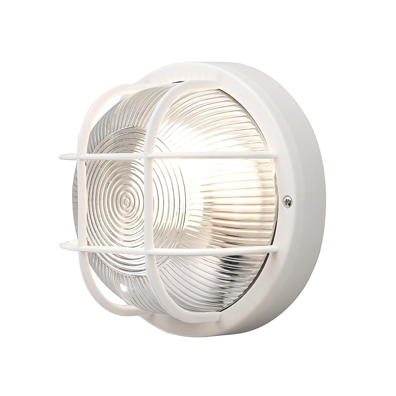Konstsmide Elmas 7650-750 Bulk Head Wall Light W: 12cm D: 10.5cm H: 20cm/1x40W/Plastic/Clear Ribbed glass/Black