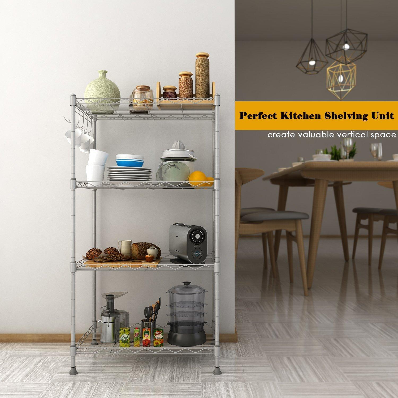Homdox Küchenregal Küchenwagen Standregal Küchenschrank Regal mit 4 ...
