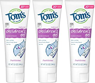 product image for Tom's of Maine Children's Fluoride Anticavity Gel, Kids Toothpaste, Fruitilicious, 5.1 Ounce (Pack of 3)