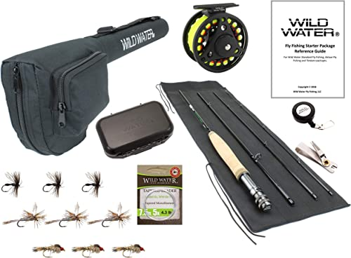 Wild Water Fly Fishing 7 Foot, 4-Piece, 3 4 Weight Fly Rod Complete Fly Fishing Rod and Reel Combo Starter Package