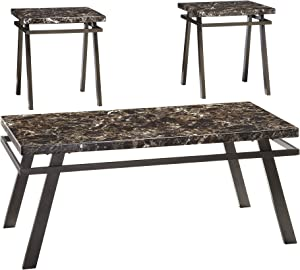 Signature Design by Ashley - Paintsville Faux Marble Coffee Table Set - Includes Coffee Table & 2 End Tables, Bronze Finish