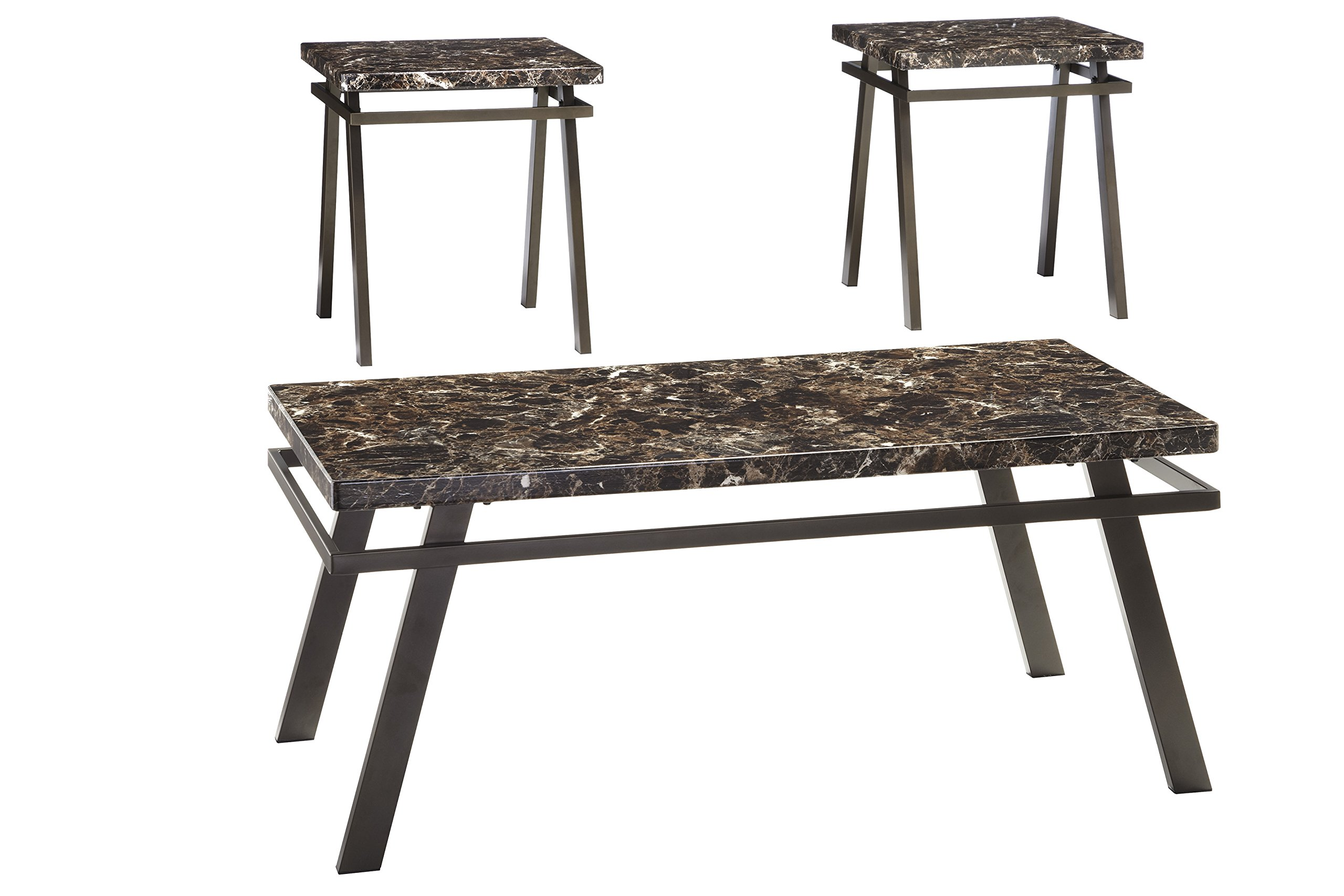 Ashley Furniture Signature Design - Paintsville Occasional Table Set - Contains Cocktail Table & 2 End Tables - Contemporary - Bronze Finish by Signature Design by Ashley