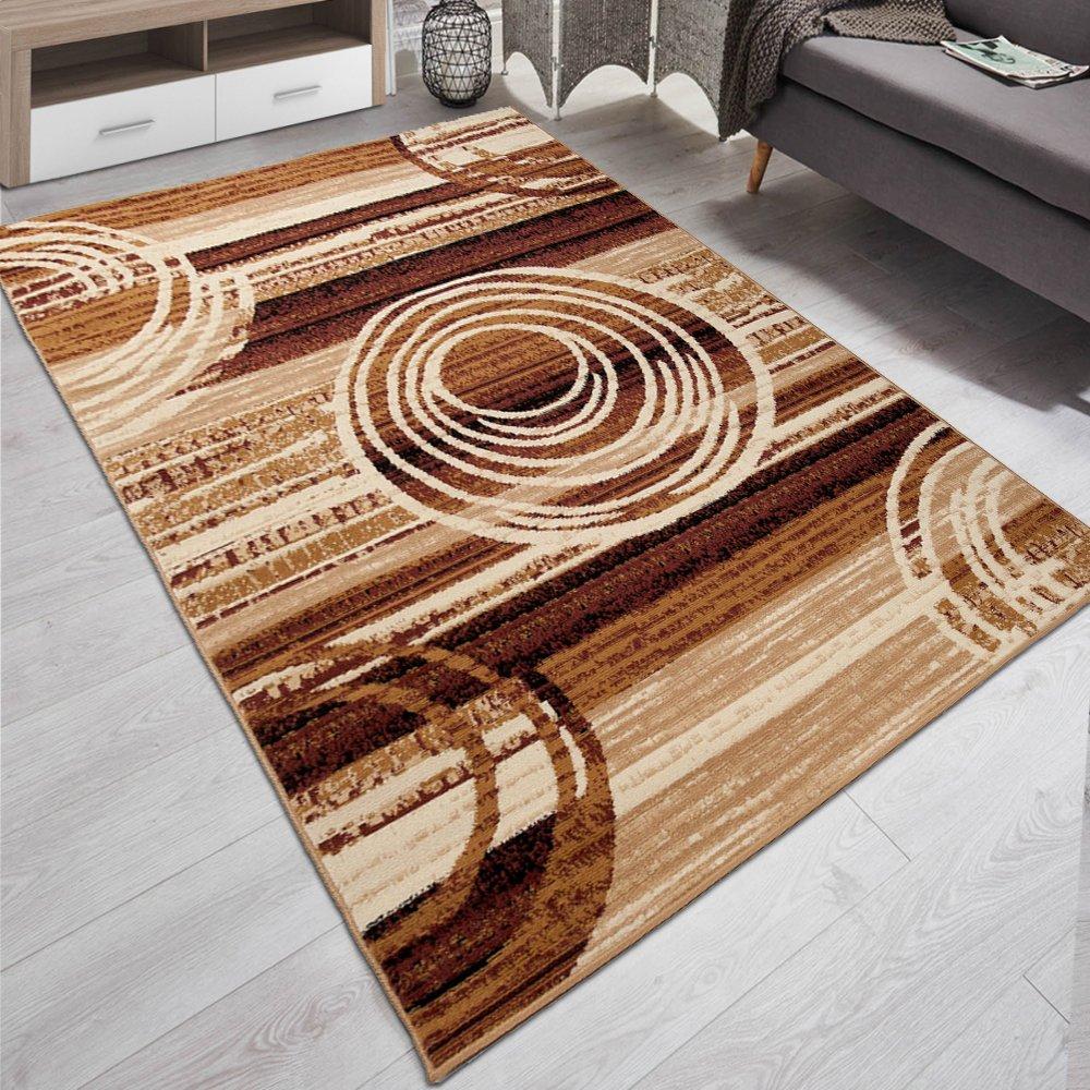 Carpeto Designer Teppich Modern Kreis Abstrakt Stil Muster Meliert in Beige Braun - ÖKO Tex (200 x 300 cm)