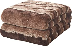 Tache Home Fashion Faux Fur Super Soft Warm Sherpa Throw Blanket, 63x87, Brown Stripe