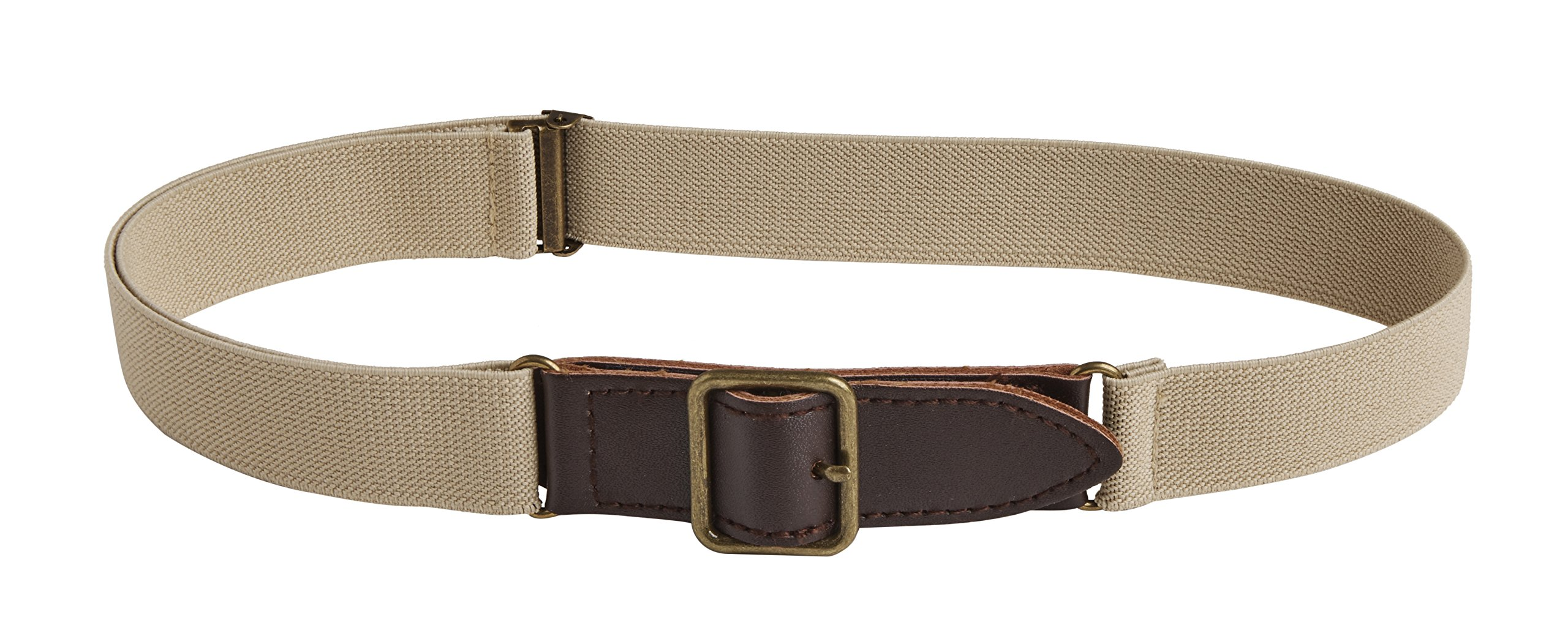 Sportoli Kids Elastic Adjustable Leather Front Stretch Belt Hook n Loop Closure - Tan