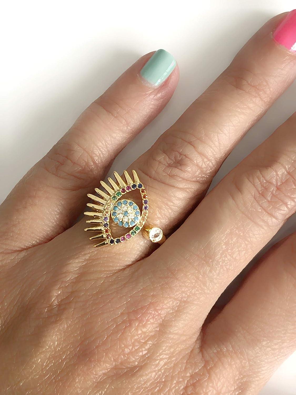 Big Evil Eye Adjustable Cubic Zirconia Golden Ring