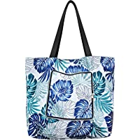 Reusable Grocery Shopping Bags Beach Tote Bag Large Foldable Waterproof Oxford with Zipper and Outside Pocket