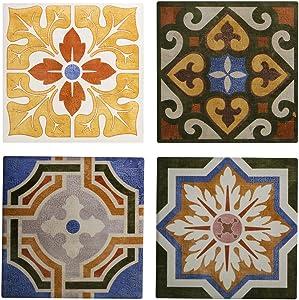 Vintage Tile Ceramic Coaster - Absorbent Coaster For Wine Glasses, Drinks and Beverages - House Warming Gift - Coaster Set Of 4 (Vintage Tiles)