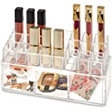 Cosmetic Makeup Organiser | Stackable 2-Tier Clear Acrylic Case With 3 Trays & 24 Makeup Holders | Organise Lipsticks, Lipgloss, Nail Polish, Essential Oils