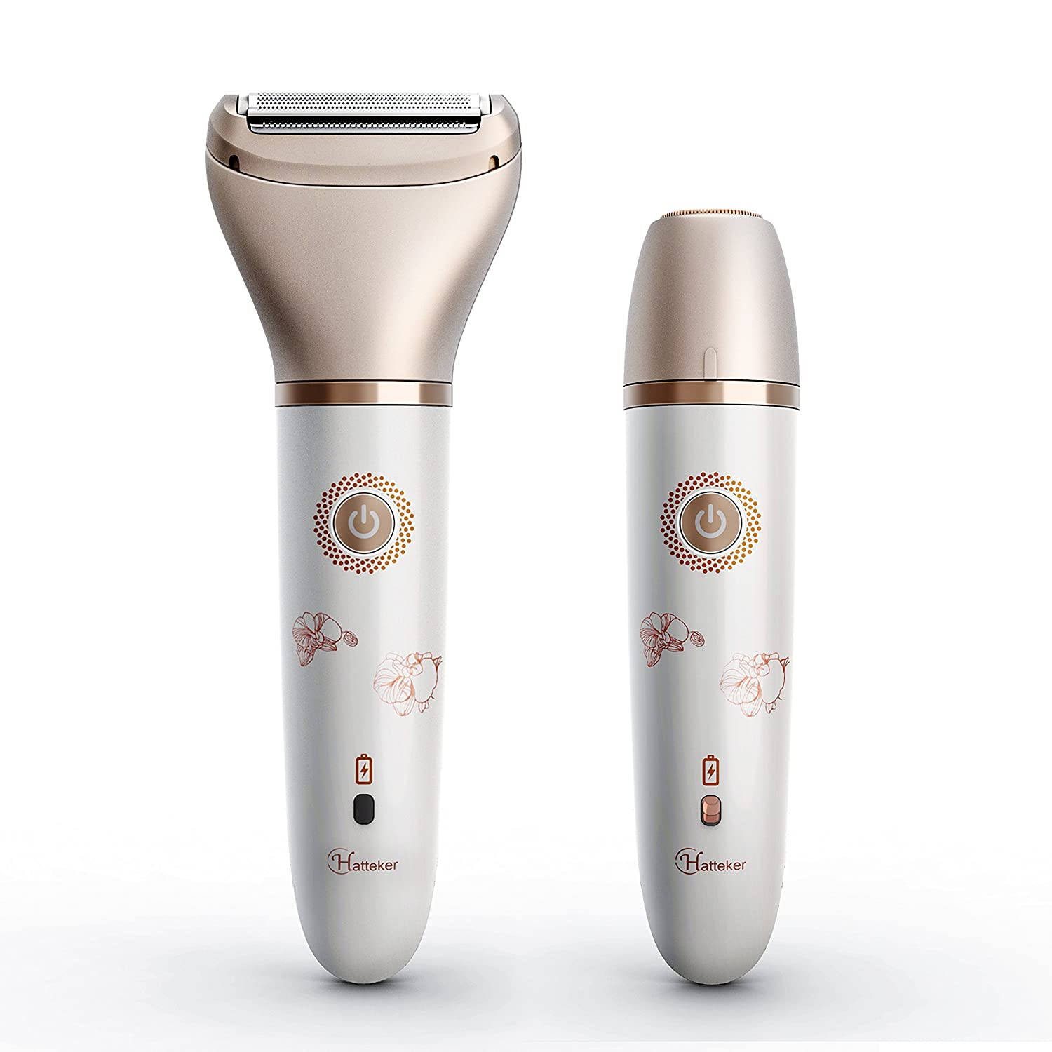 Hatteker Electric Ladies Shaver, Portable Painless Facial Hair Remover 2 in 1 Wet & Dry Cordless Women's Epilator with Fine Hair Removal, Body Hair Trimmer for Legs, Forearms and Bikini Line Ltd.
