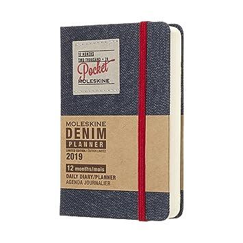 Moleskine DDN12DC2Y19 - Diario 12m de edición limitada en tela vaquera de bolsillo, color negro
