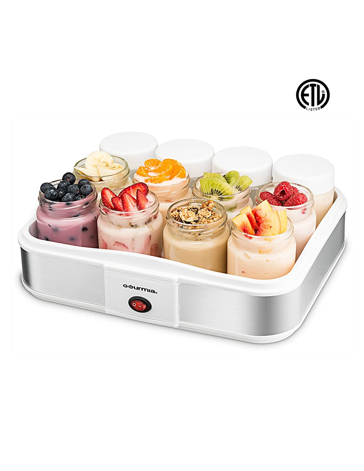 Gourmia GYM1710 Yogurt Maker with 12 Glass Jars Customize to Your Flavor and Thickness, Free Recipe Book Included.